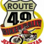 Route 49 Bike Rally showing a motorcycle and a highway sign of highway 49 in Jefferson TX